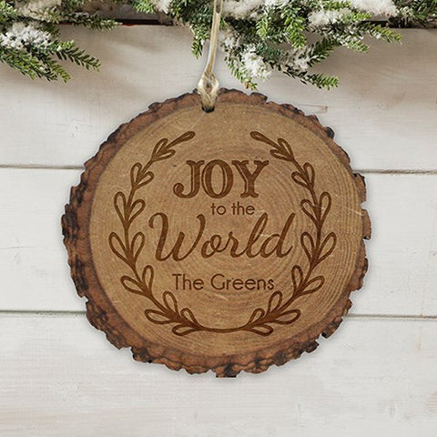 Personalized Engraved Joy to the World Wood Ornament