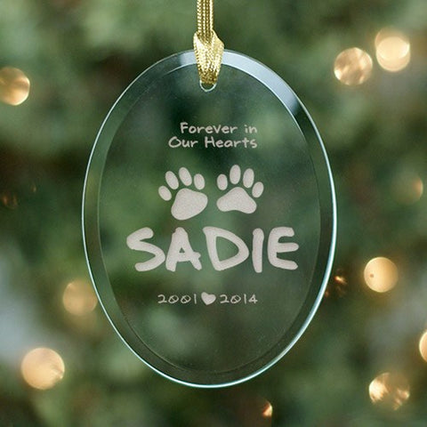 Personalized Forever in heart Pet Sympathy Ornament