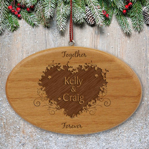 Personalized Engraved Together Forever Couples Wooden Oval Ornament