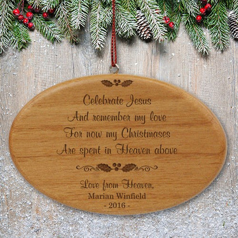 Personalized Engraved Wooden Memorial Ornament With Quote