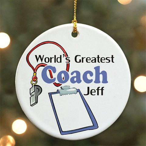 Personalized World's Greatest Coach Ceramic Ornament
