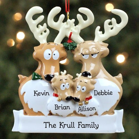 Personalized Family Reindeer Christmas Ornaments