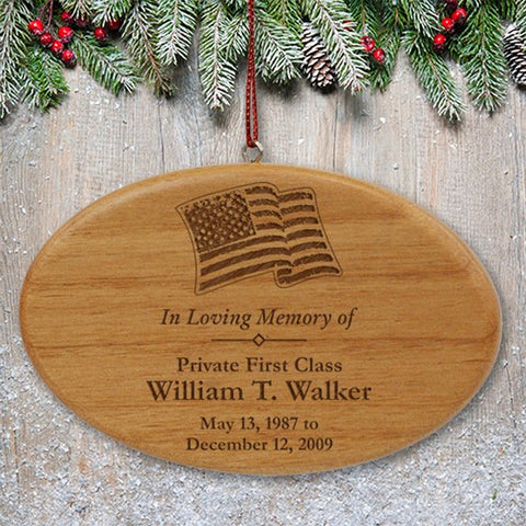 Personalized Engraved Military Memorial Wooden Oval Ornament