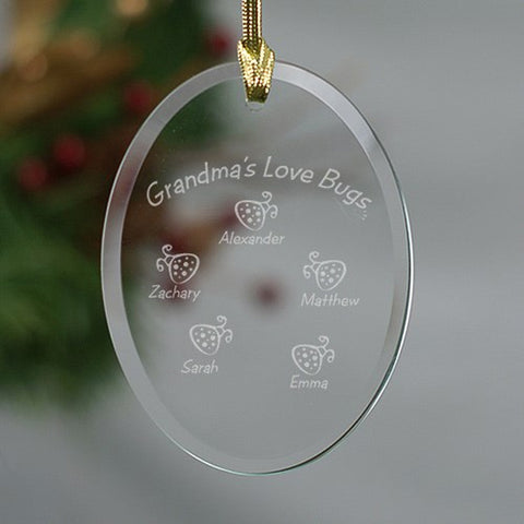 Personalized Love Bug Glass Oval Ornament