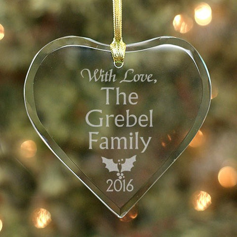 Personalized Family Holly Design Glass Heart Ornament