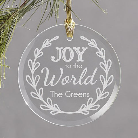 Personalized Joy to the World Round Glass Ornament