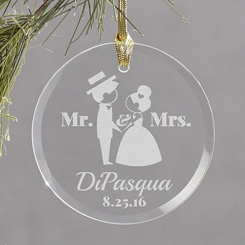 Personalized Engraved Wedding Couple Round Glass Ornament