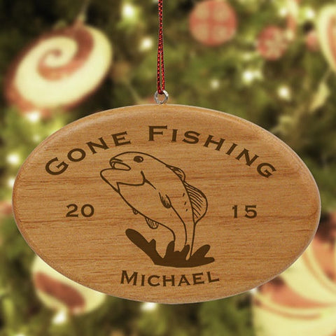 Personalized Engraved Fishing Wood Ornament