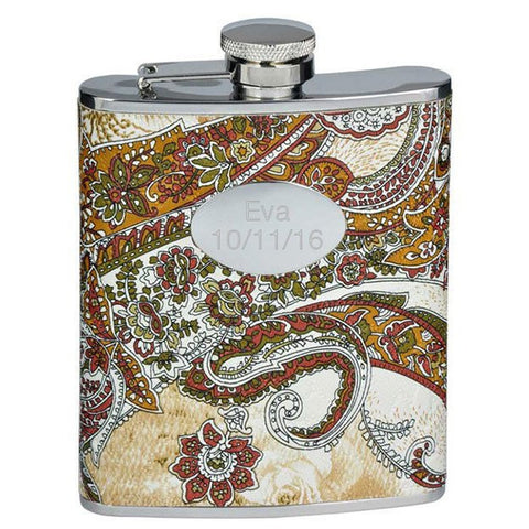 Floral Paisley Pattern Stainless Steel Flask - 6 oz - Personalized