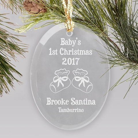 Personalized Baby's 1st Christmas Booties or Rattle Design Glass Oval Ornament