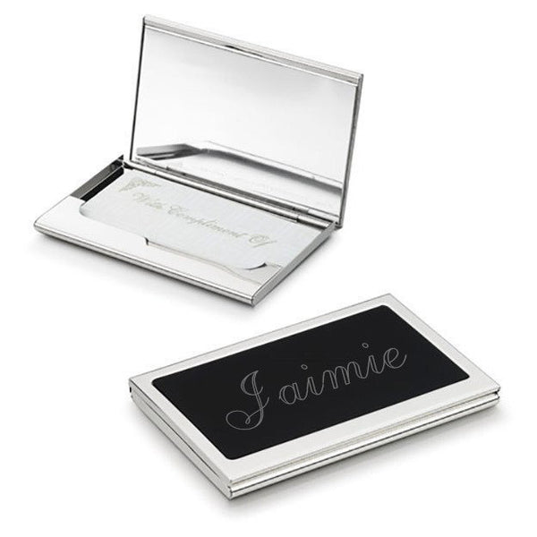 Evette Silver Plated Business Card case with Built In Mirror - Personalized