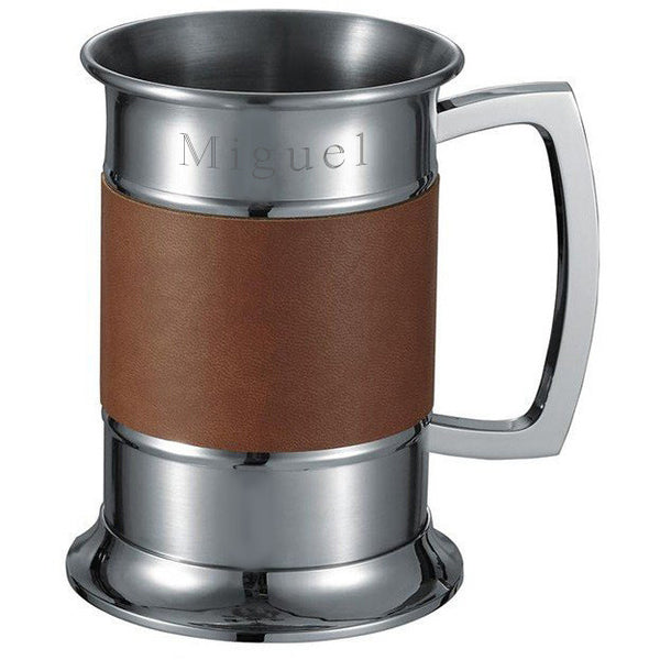 18 ounce Brown Leather Wrapped Stainless Steel Beer Tankard - Personalized