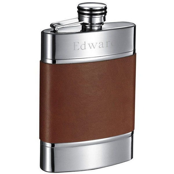Wickeln Brown Leather Liquor Flask - 6 oz - Personalized