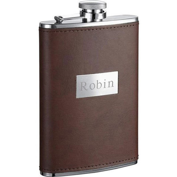 Alcide Brown Leather Stainless Steel Hip Flask - 6 oz - Personalized