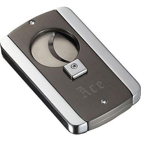 Axe Satin Gunmetal and Polished Finish Cigar Cutter - Engravable