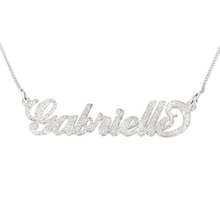 Personalized Silver Carrie Sparkling Name Necklace