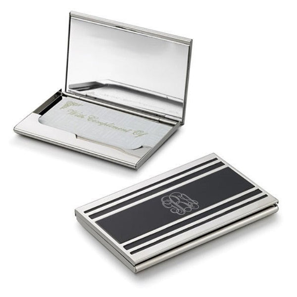 Cove Silver Plated Business Card Case For Ladies - Personalized