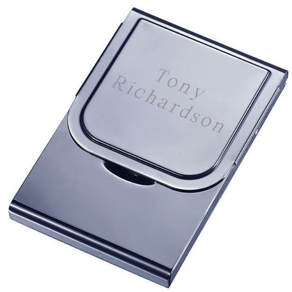 Arew Large Size Gunmetal Business Card Case - Personalized