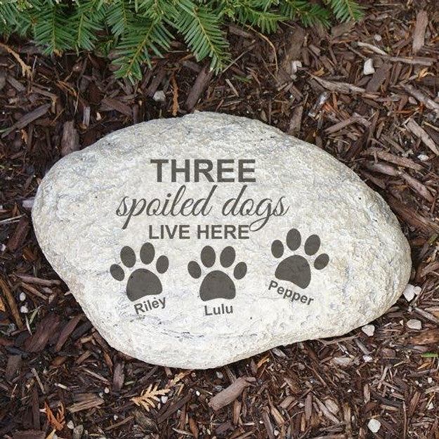Personalized Engraved Spoiled Dog Garden Stone