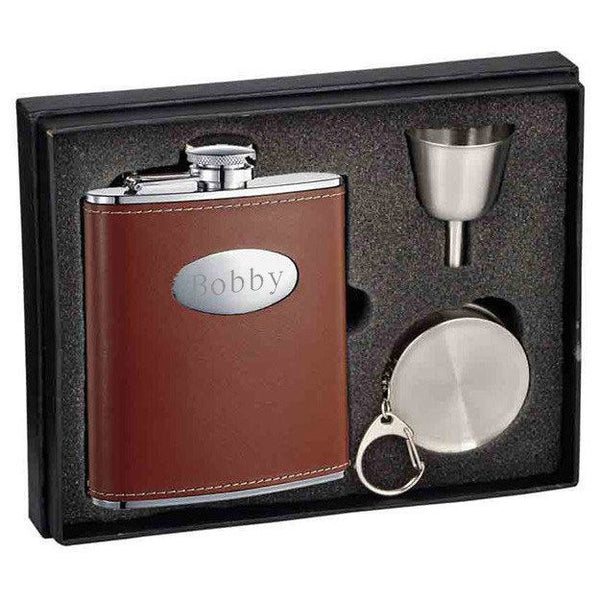 Hound Brown Leather 6oz Stellar Flask Gift Set - Personalized