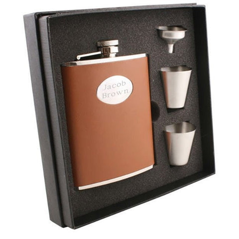 Bobcat Brown Leather Deluxe Hip Flask Gift Set - 6 oz - Personalized