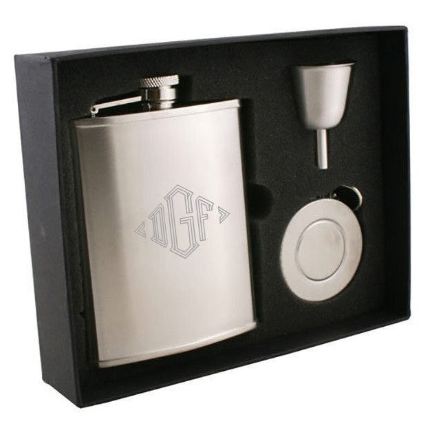 Edge Satin Stainless Steel 6oz Stellar Flask Gift Set - Personalized