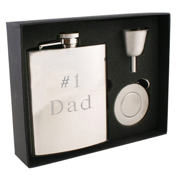 Ray Mirror Finish Stainless Steel 8oz Stellar Flask Gift Set - Personalized