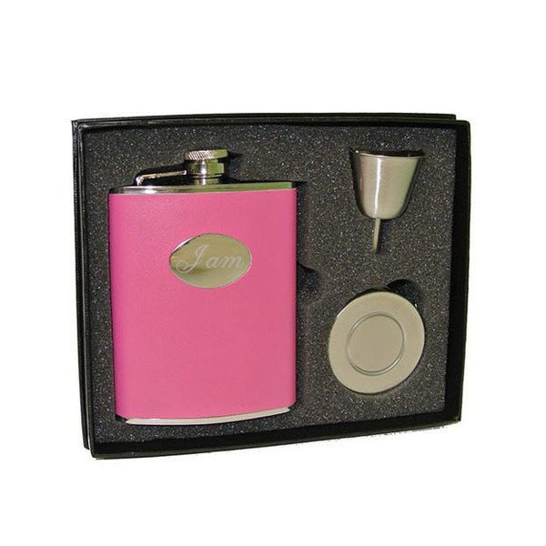 Britney Hot Pink Leather 6oz Stellar Flask Gift Set - Personalized