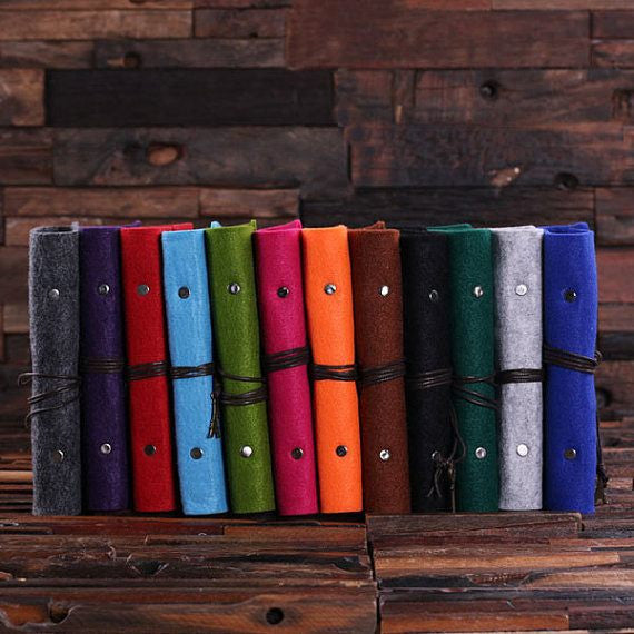 Personalized Felt Journal, Pen and Wood Box – Neon Orange