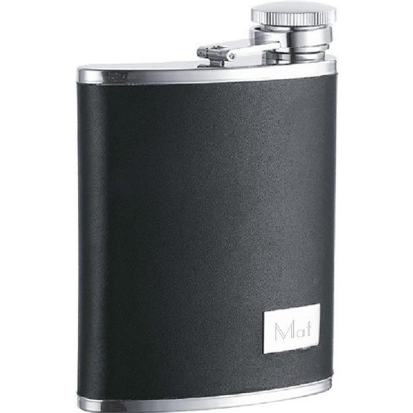 Zen Synthetic Leather Stainless Steel 7oz Wide Mouth Flask - Personalized