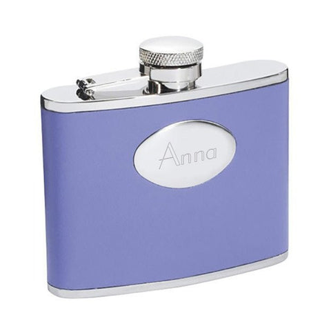 Blossom Lavender Leather Stainless Steel 4oz Hip Flask - Personalized