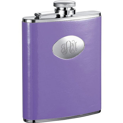 Orchid Purple Leatherette Stainless Steel Hip Flask - 6oz - Personalized