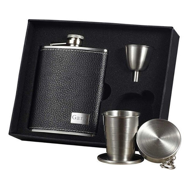 Eclipse S Leather Stellar Hip Flask Gift Set - 6 oz - Personalized
