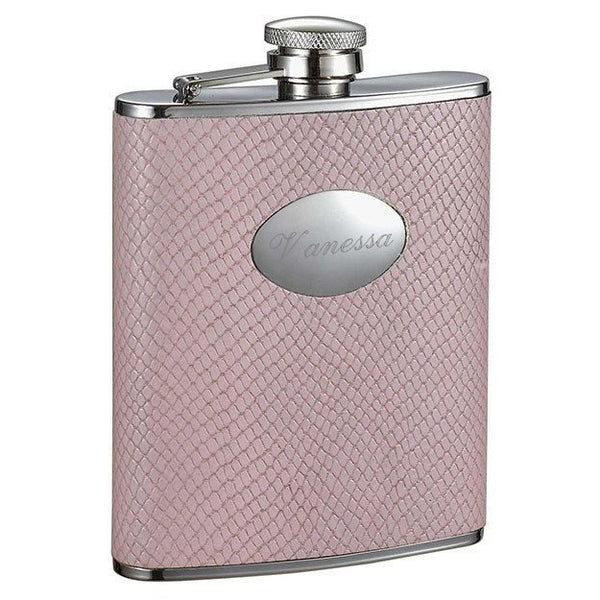 Rosalyn Light Pink Snakeskin Design Stainless Steel Hip Flask - 6oz - Personalized