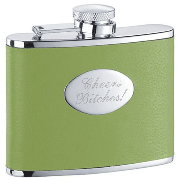 Lily Pad Light Green Leather Stainless Steel 4oz Hip Flask - Personalized