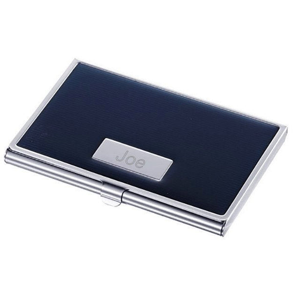 Andrew Navy Blue Lacquer Business Card Case - Personalized