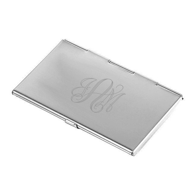 Ariella Pink Marble and Stainless Steel Business Card Case - Personalized
