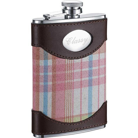 Hannah Leather & Pink Plaid Liquor Flask - 8 ounces - Personalized