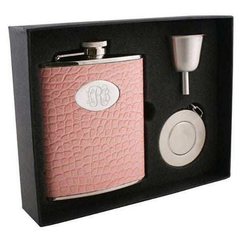 Annabella Light Pink Snake-Skin Leatherette 6oz Stellar Flask Gift Set - Personalized
