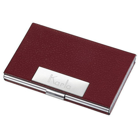 Personalized Samantha Red Leather Business Card Case for Ladies