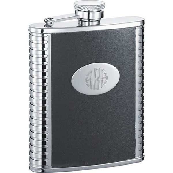 Tux Black Leather 6-oz. Groomsmen Flask - Personalized
