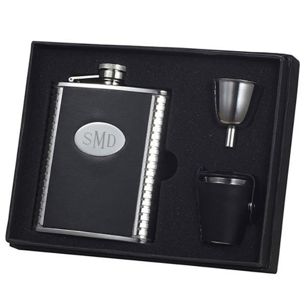 Tux Ribbed Design Leather 6oz Deluxe Flask Gift Set - Personalized