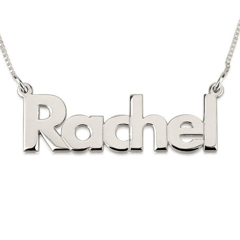 Personalized Silver Bold Print Name Necklace