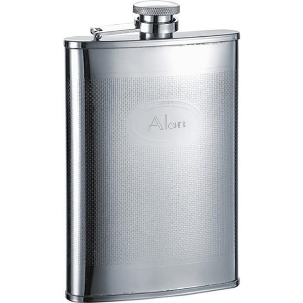 Mark Stainless Steel Hip Flask - 8 oz - Personalized
