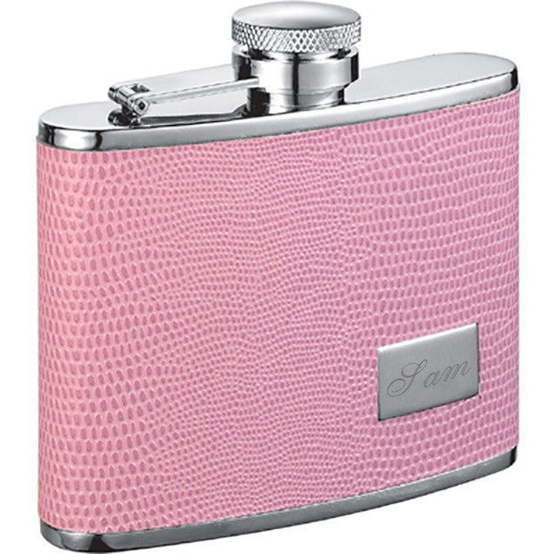 Adora Pink Hip Flask - 4 oz - Personalized