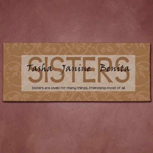 Personalized Sisters Wall Canvas