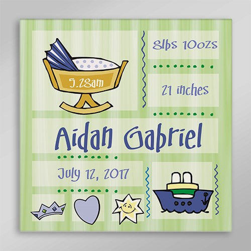 Personalized Cute New Baby Print Wall Canvas
