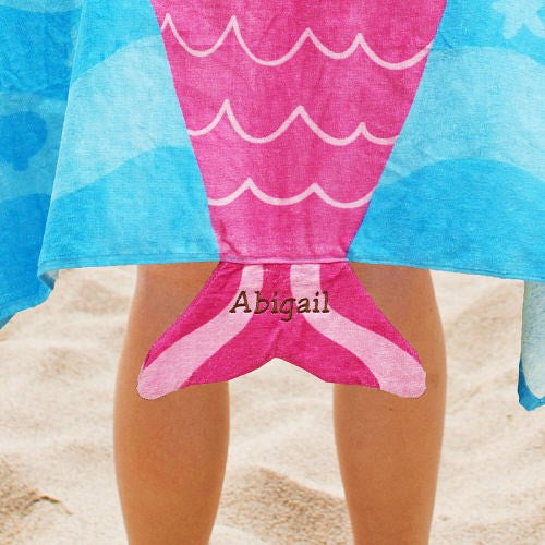 Personalized Embroidered Hooded Mermaid Design Beach Towel