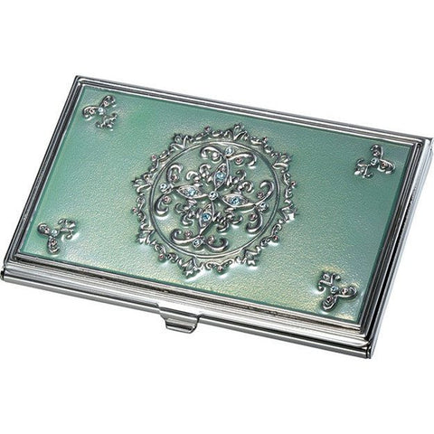 Ivy Light Green With Embedded Crystals Business Card Case - Personalized