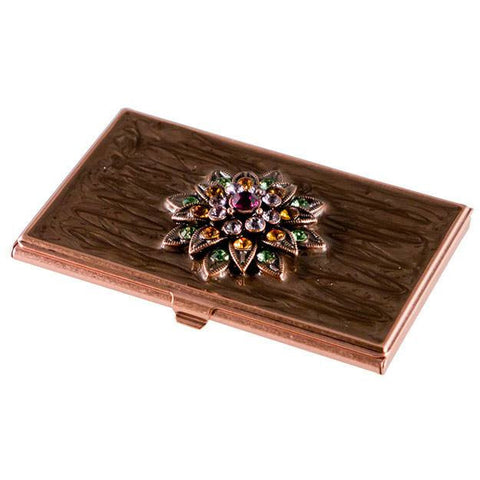Lotus Crystals and Lacquer Copper Women's Business Card Case - Personalized